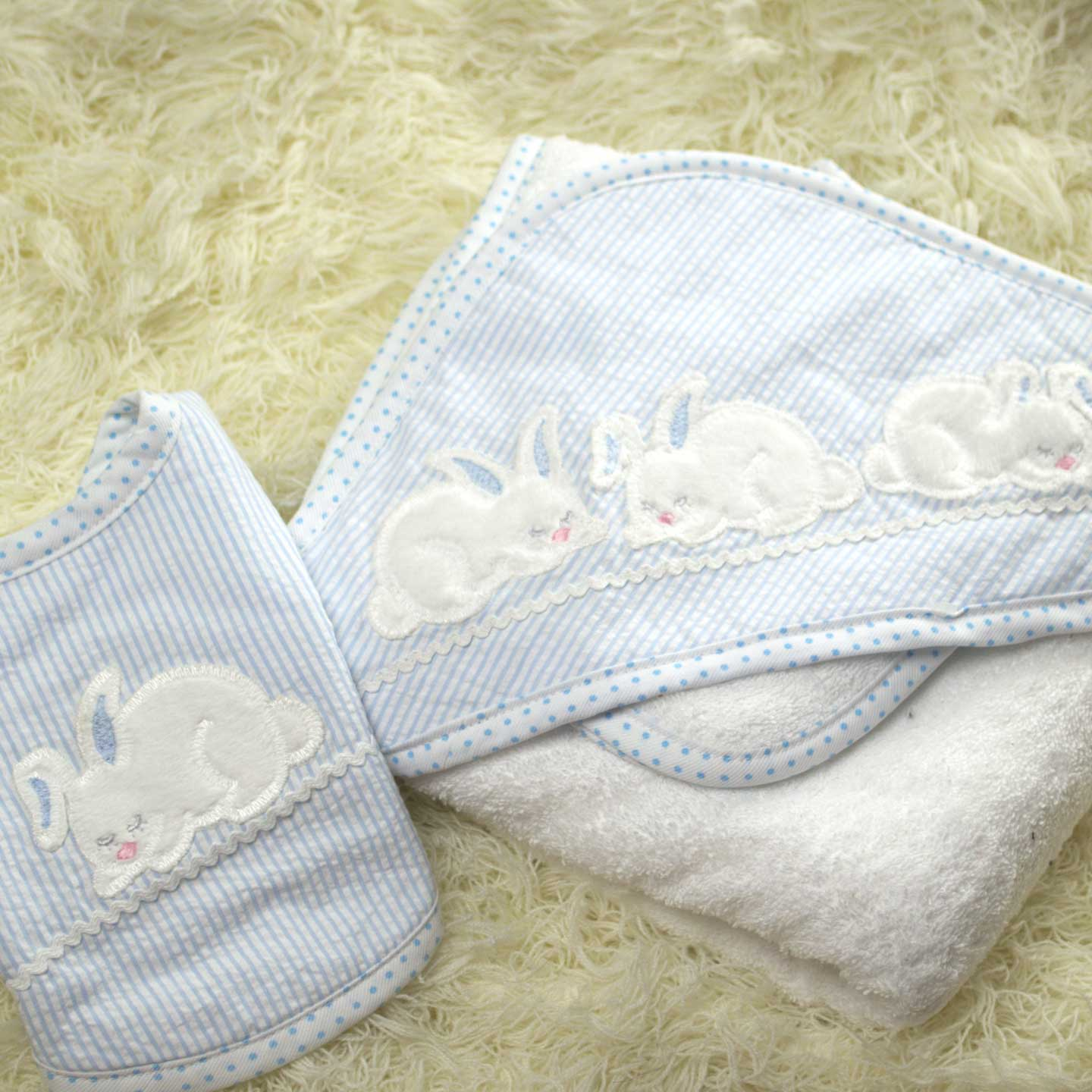 Bunnies Hooded Towel, Washcloth & Bib Set