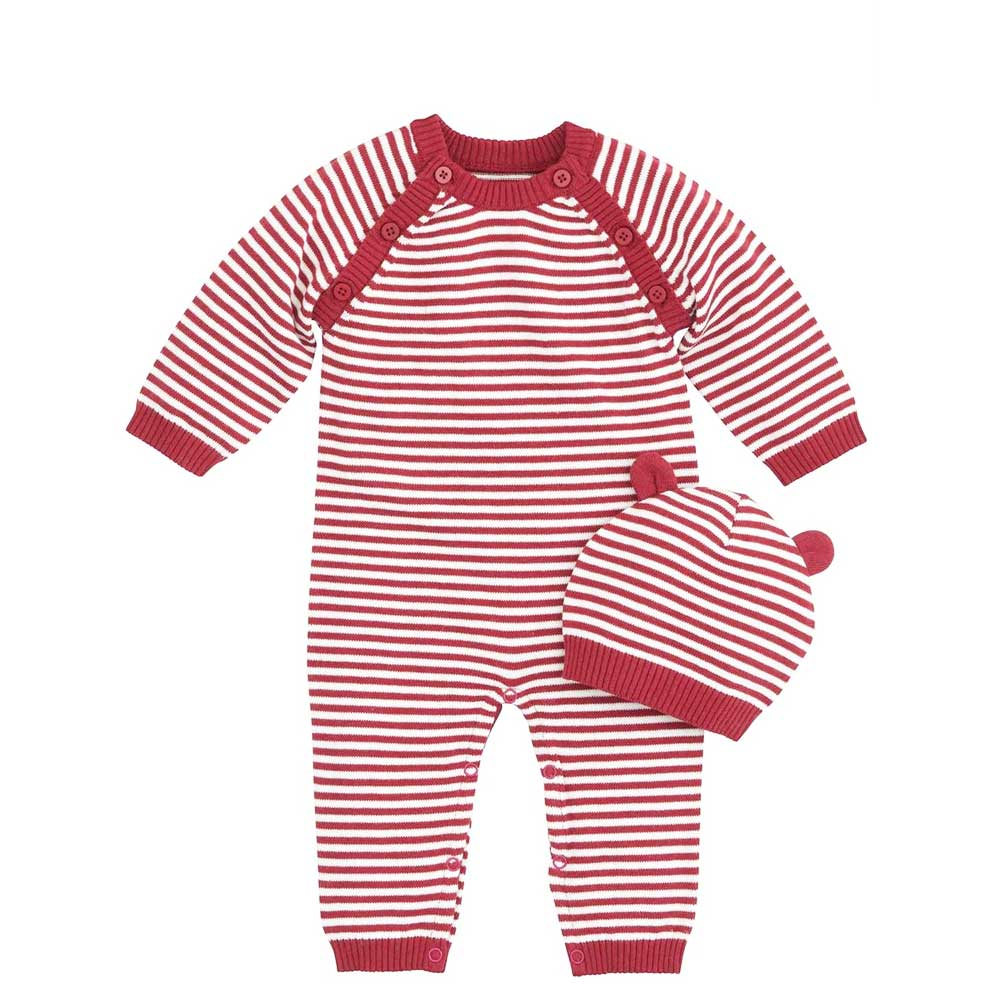 Red & White Stripe Coverall with Hat