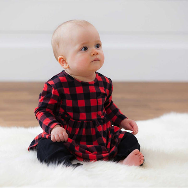 Buffalo Plaid Top and Ruffled Pant