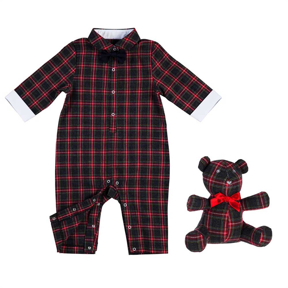 Tartan Plaid Romper and Teddy Bear Gift Set