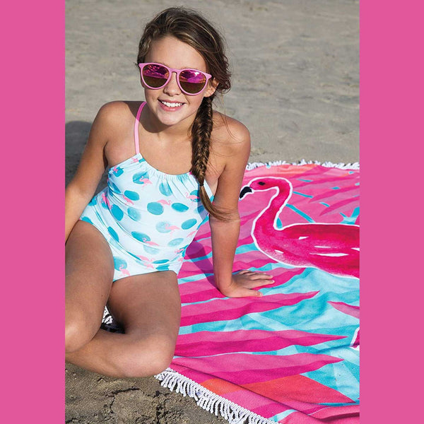Round Flamingo Beach Blanket