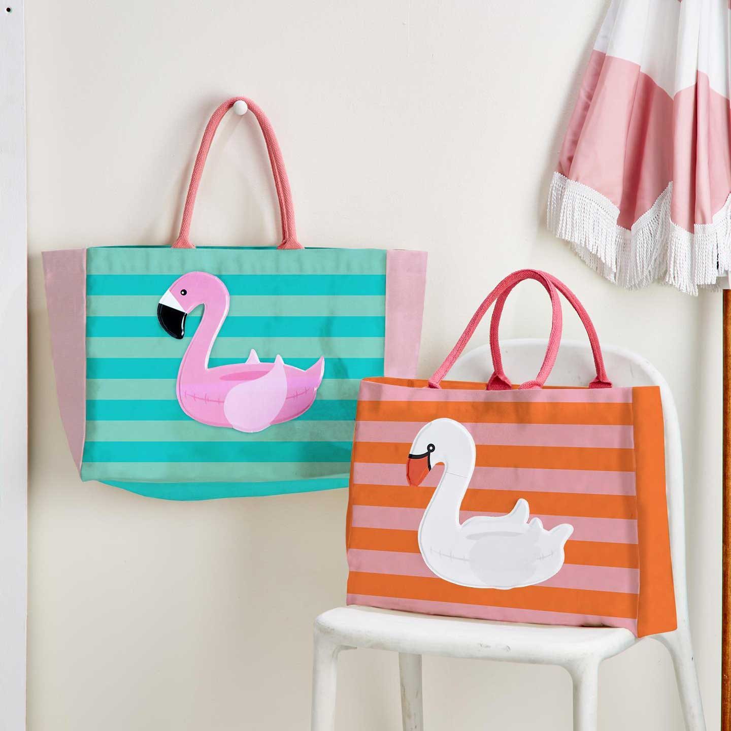 Swan & Flamingo Beach Tote with 2 smaller carryall pouches