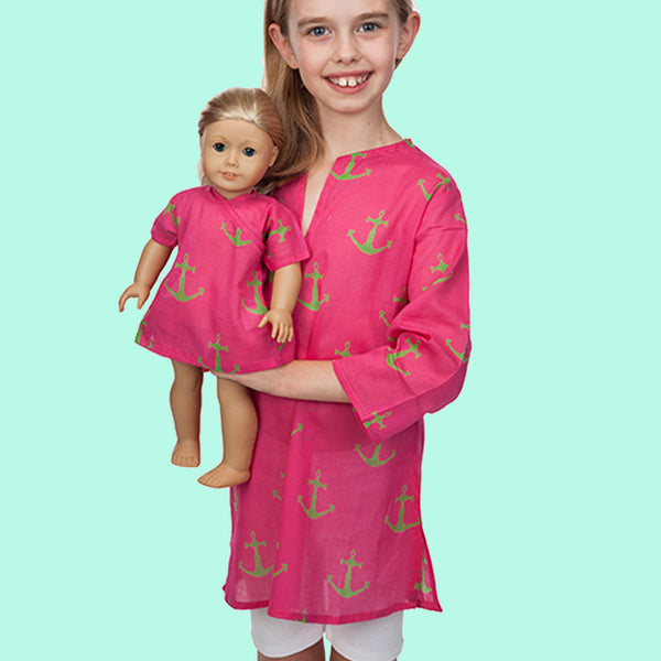 Hot Pink Anchor Girl and Doll Tunic