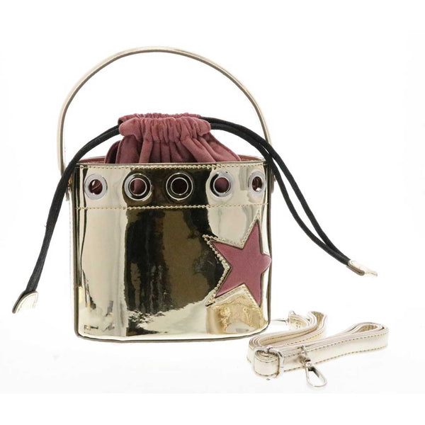 Metallic Drawstring Top Handle Bucket Purse with Star