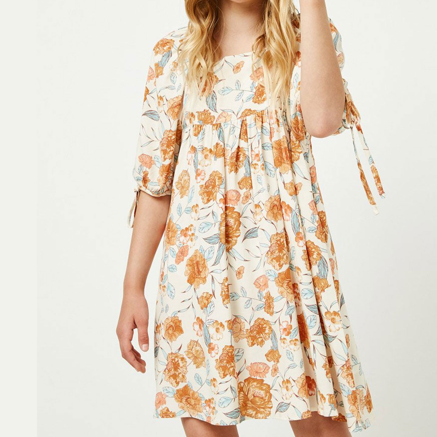 Romantic Floral Tie Sleeve Mini Dress