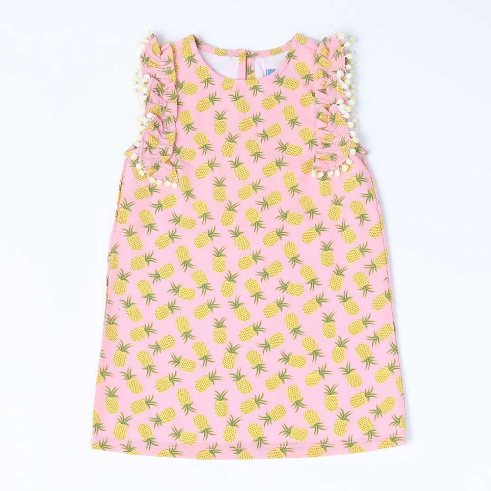 Pompom Pineapple Print Dress