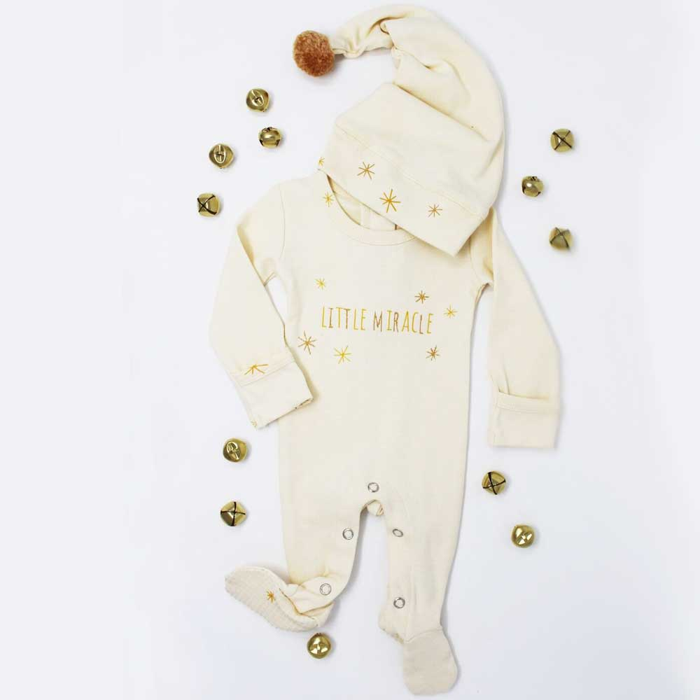 Organic Holiday Overall & Cap Set in Gold Miracle