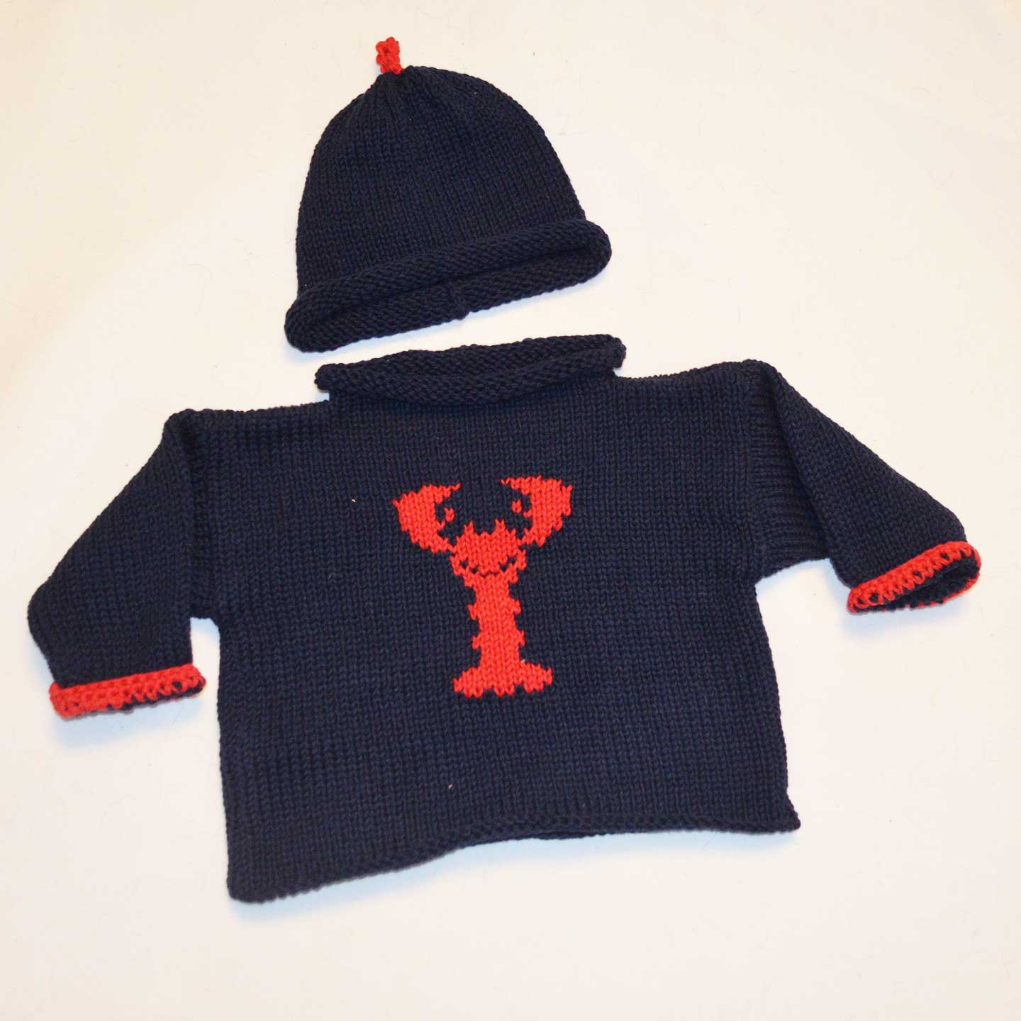 Handknit Lobster Sweater and Hat