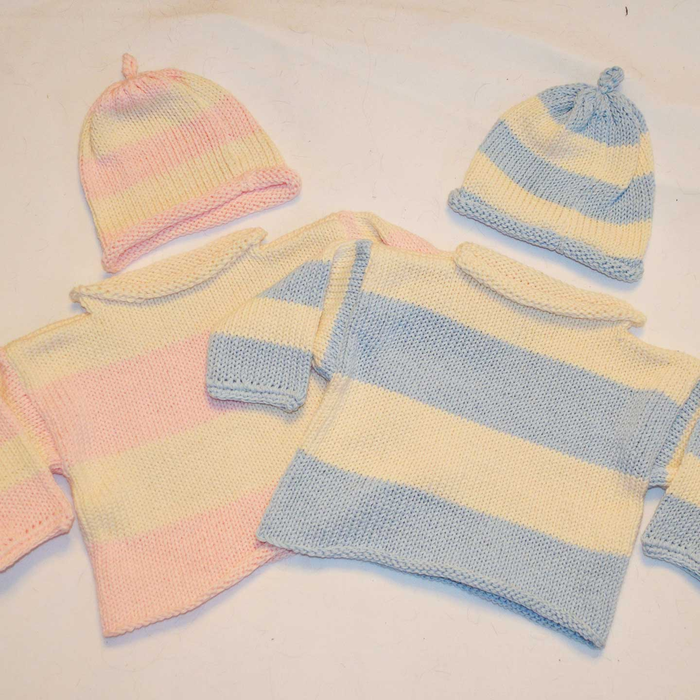 Stripe Rollneck Sweater & Hat Set