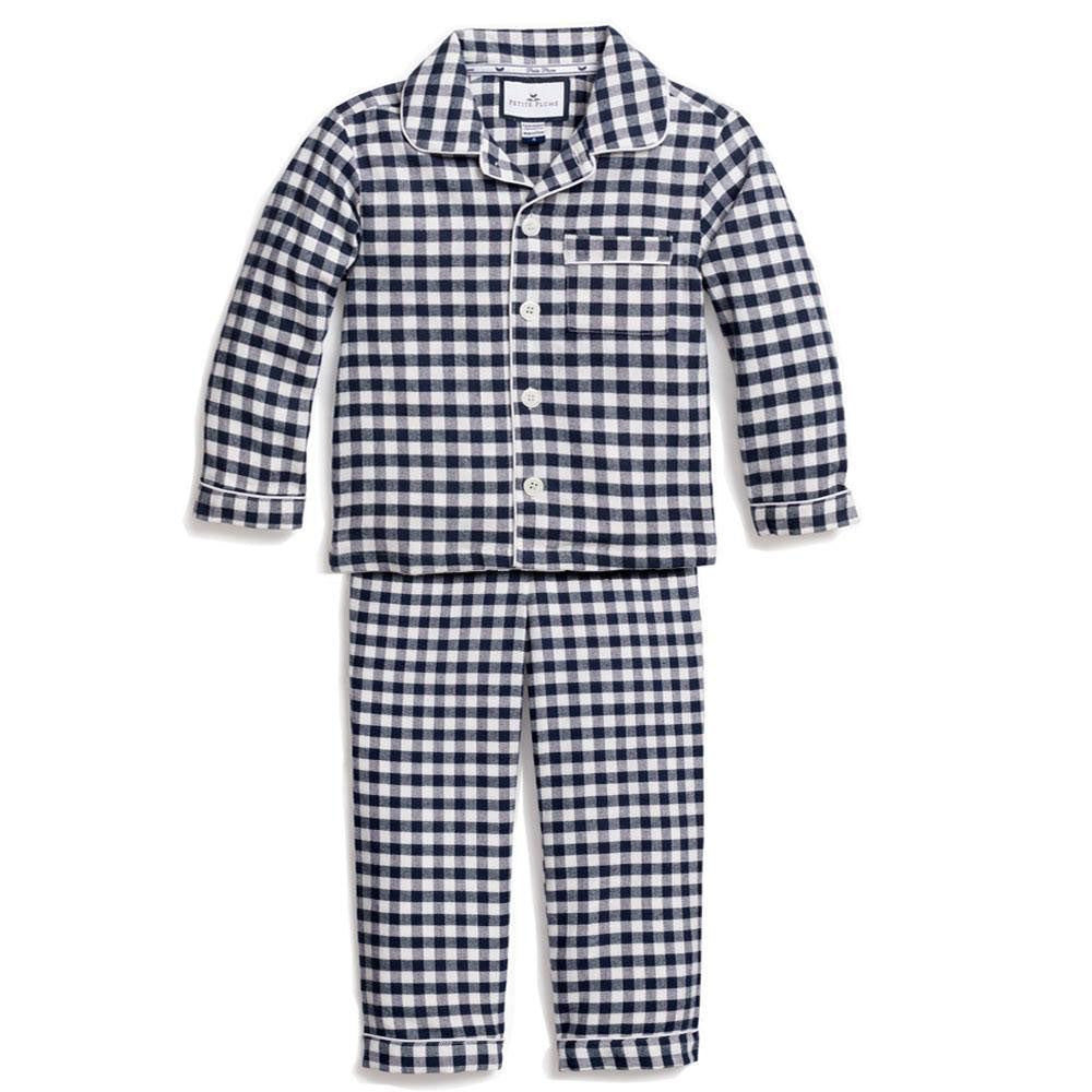Navy Gingham Flannel Classic Pajama Set