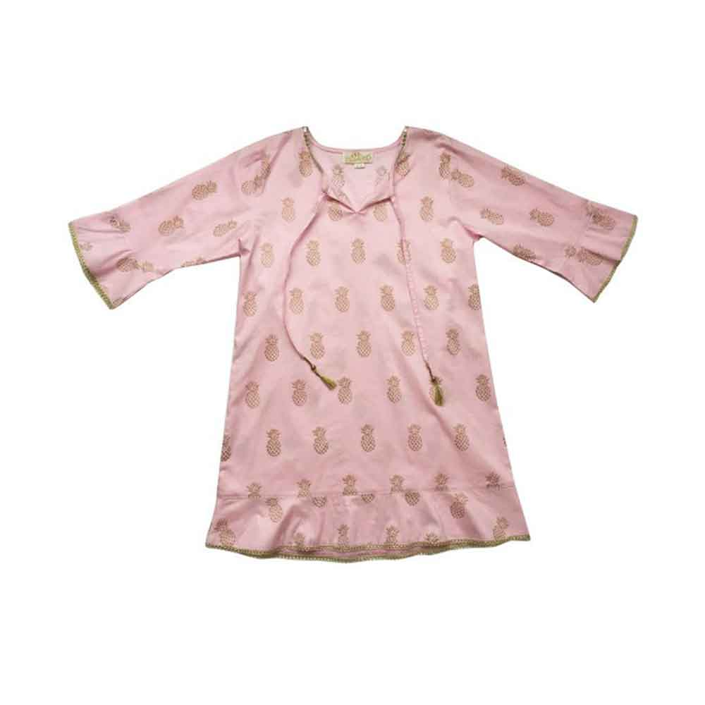 Light Pink Gold Pineapple Block Print Cotton Coverup