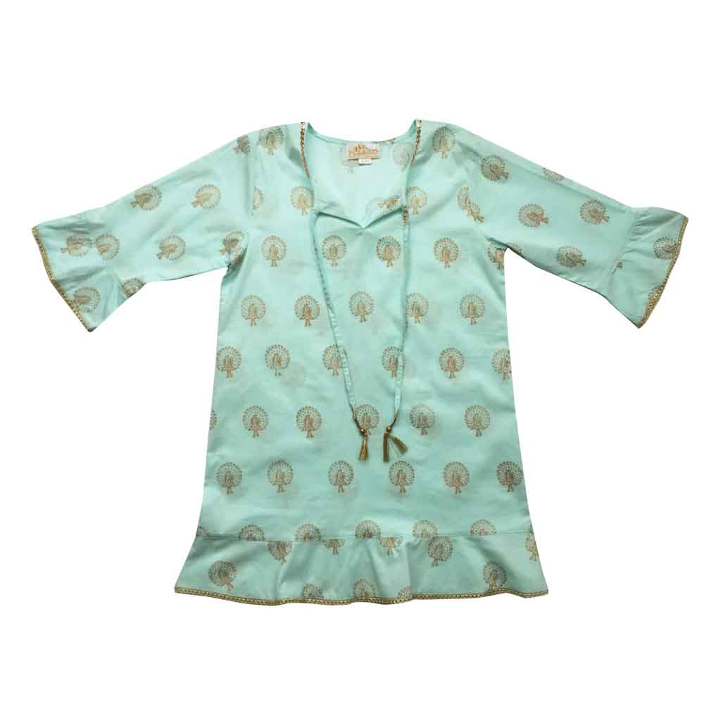 Light Blue Gold Block Peacock Coverup