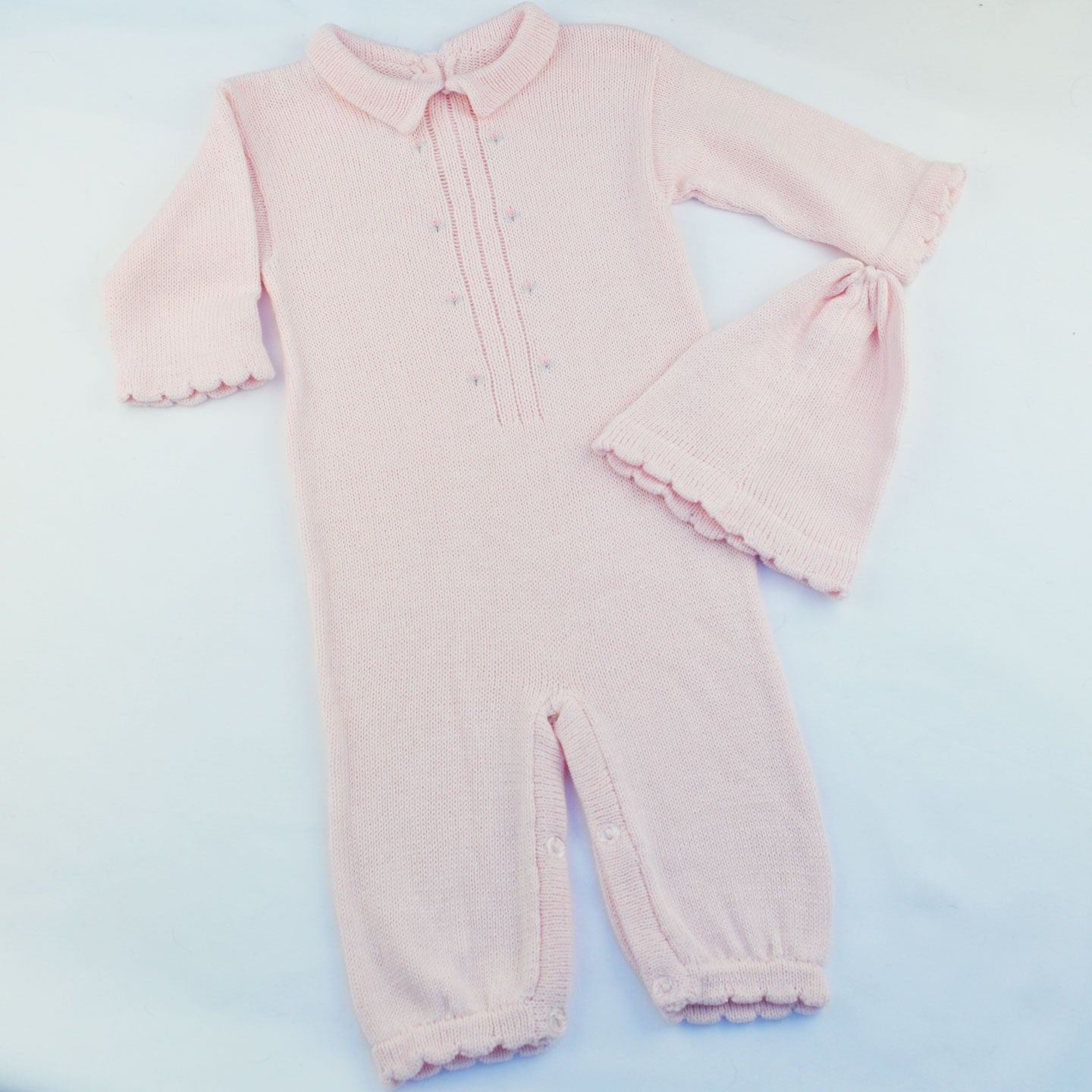 Pink Knitwear Romper and Hat