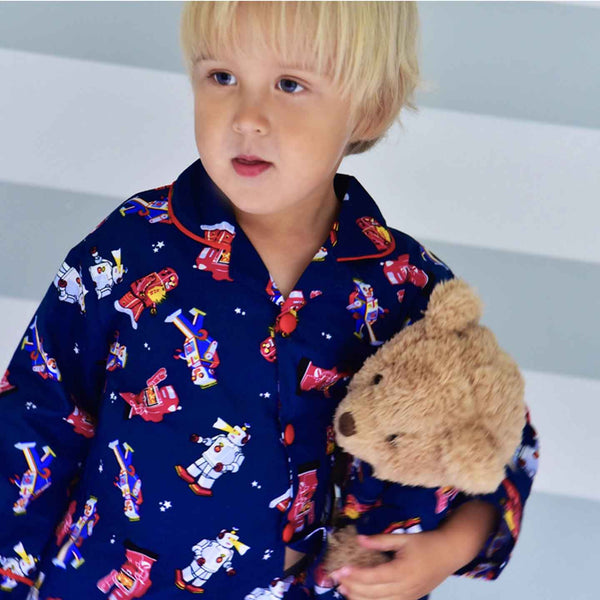 Retro Robot Pyjamas and Matching Teddy