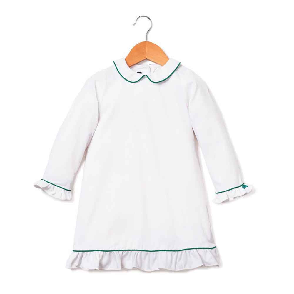 White Sophia Nightgown with Green Piping