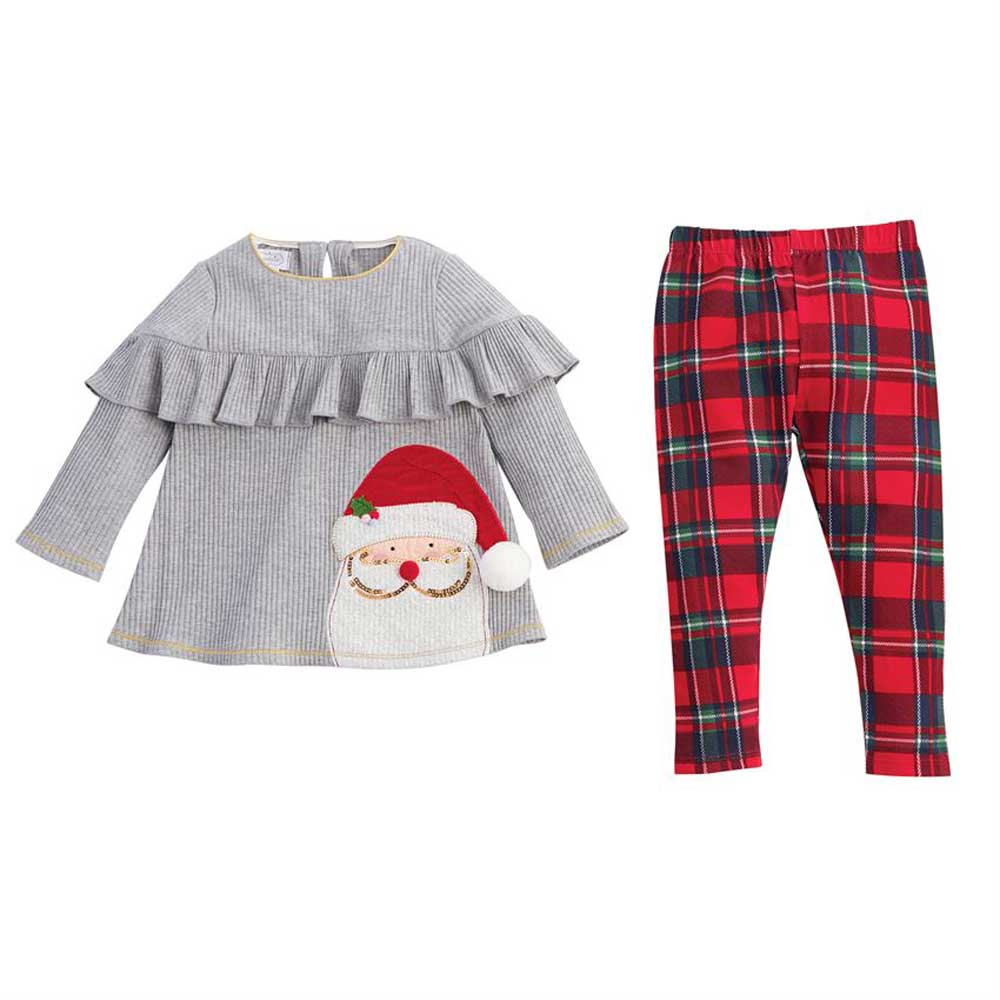 Santa Ruffle Tunic and Tartan Legging Set