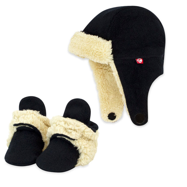 Cozie Furry Black Baby Booties and Trapper Hat