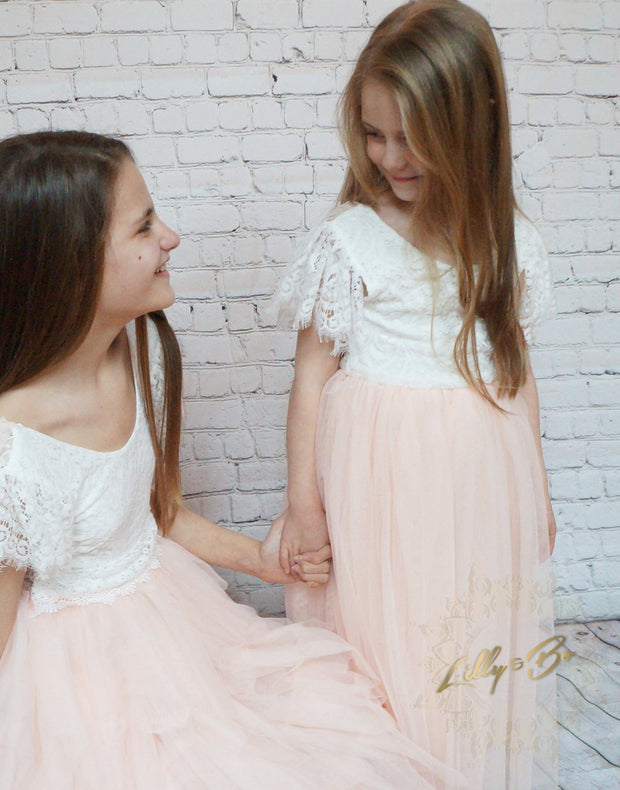 Anastasia ~ Party or Flower Girl Dress in Apricot