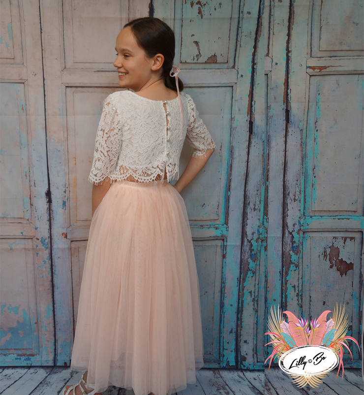Ava in blush pink ~ Luxurious Tulle & Lace Two-Piece