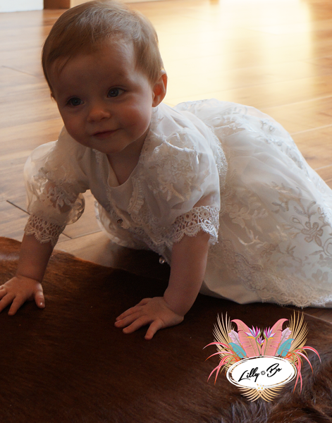 Ella ~ Baptism | Christening Dress with Bonnet