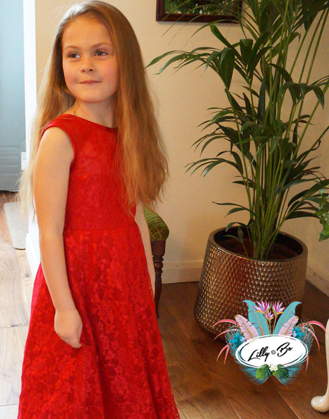 Holly ~ Red Flower Girl Dress
