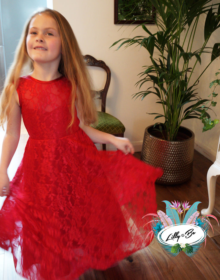 Holly ~ Red or Blackberry Flower Girl Dress