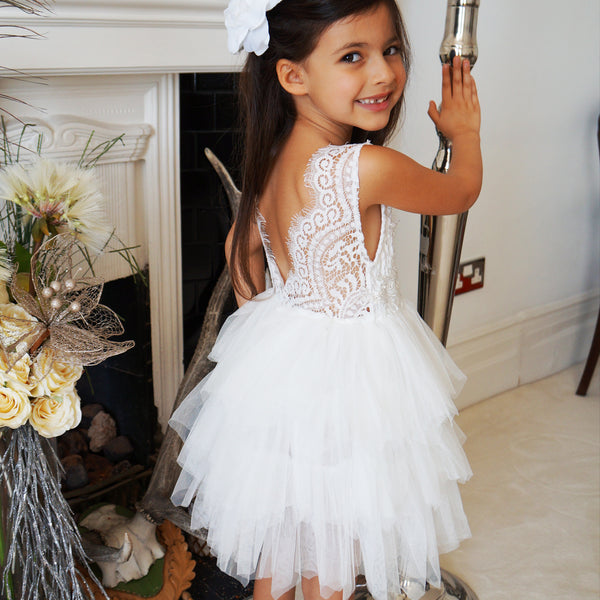 Aria in White ~ Party or Flower Girl Dress