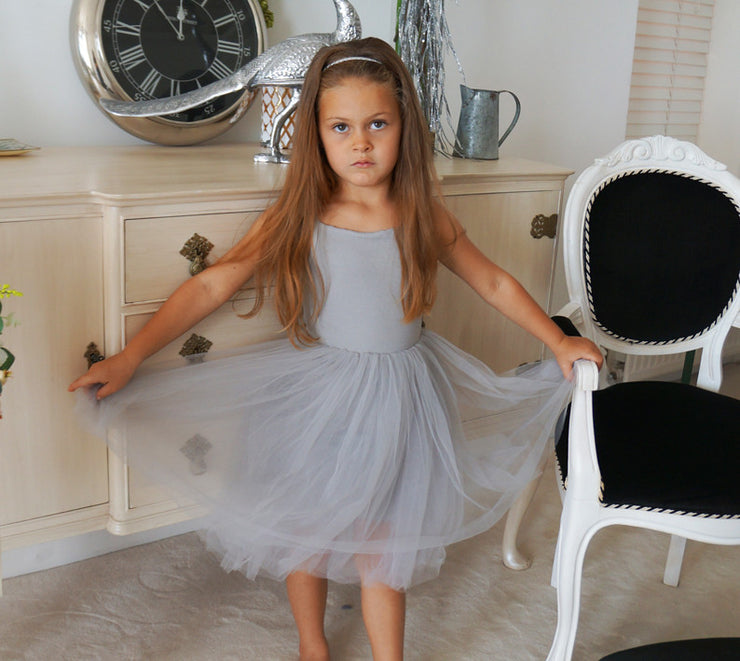 Beatrice Tulle Dress in Grey ~ Party or Flower Girl Dress