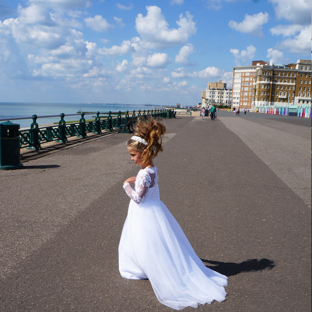 Cynthia ~ Flower Girl Dress in White or Ivory
