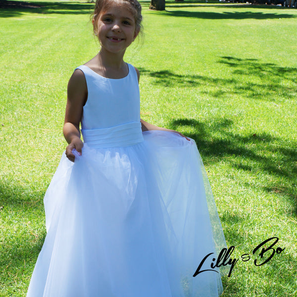 Fleur ~ Flower Girl | First Communion Dress in White or Ivory