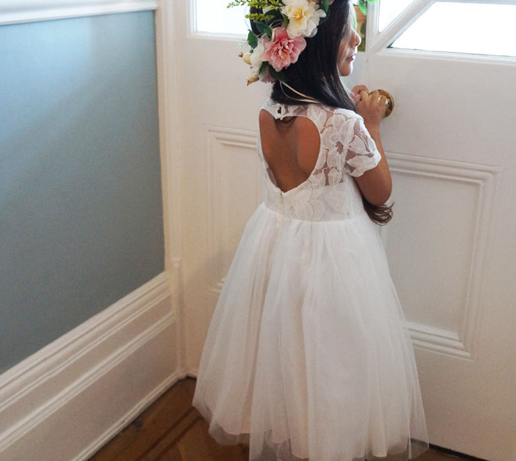Cerri in white or ivory ~ Flower Girl or Communion Dress