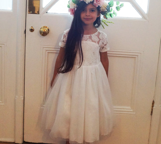 Cerri in Ivory ~ Flower Girl or Communion Dress