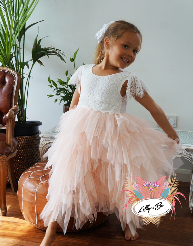Mae ~ Party or Flower Girl Dress in apricot