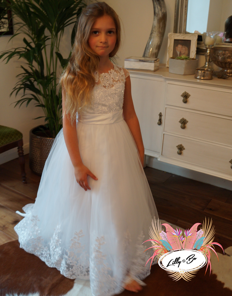 Olivia ~ Flower Girl | Communion Dress in White or Ivory