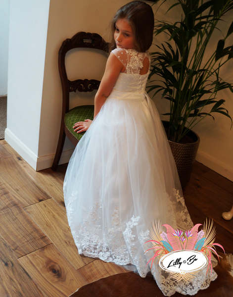 Olivia ~ Flower Girl | First Communion Dress in White or Ivory