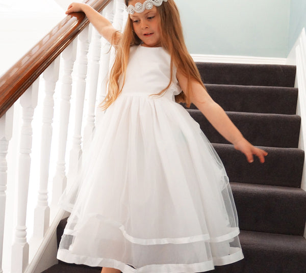 Rose in off white ~ Flower Girl or First Communion Dress