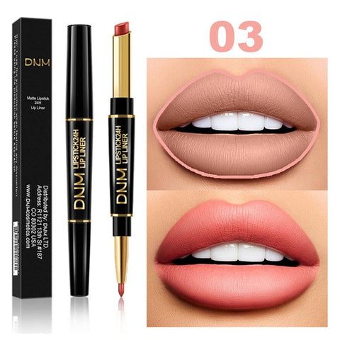 2 in 1 Waterproof Lip Liner+Lipstick 12 Colors