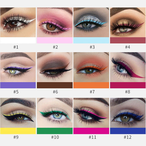 12 Pieces Set Colorful Waterproof Pen Eyeliner