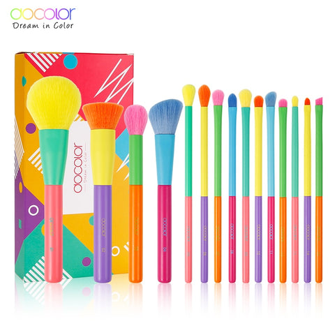 Colourful Makeup Brushes Set