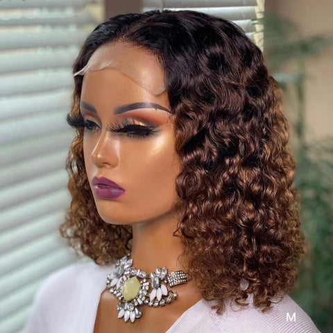 Colored Ombre Curly Lace Front Wig