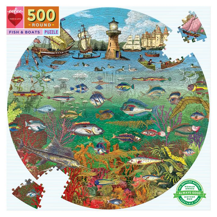 Fish & Boats 500 Piece Round Puzzle
