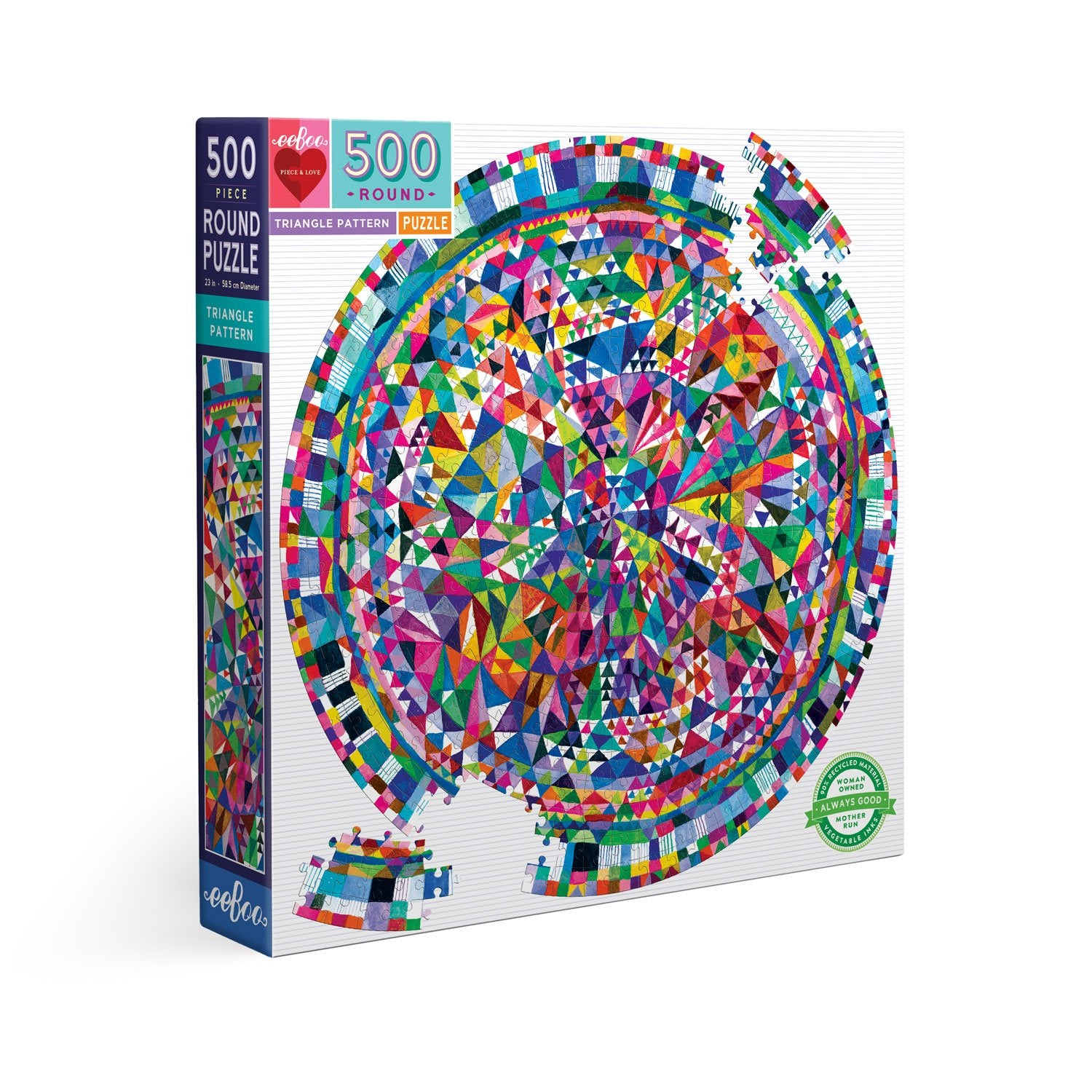 Triangle Pattern 500 Piece Round Puzzle