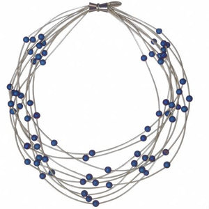 Wire Necklace w/ Blue Geos