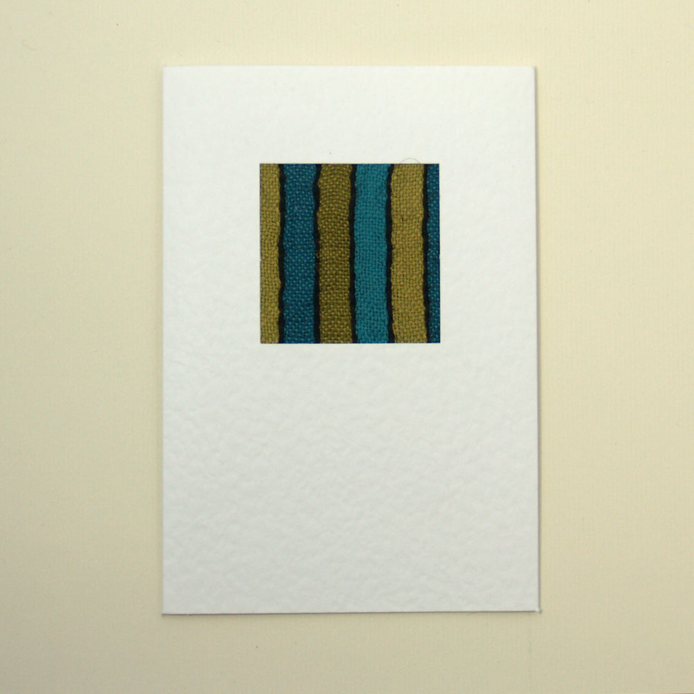 Handmade Greetings Card - Turquoise Stripe