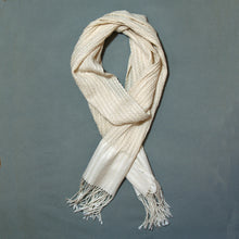 Load image into Gallery viewer, Helix Collapse Scarf - White with Linen