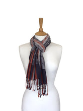 Load image into Gallery viewer, Silk & Merino Scarf - Rust, Plum & Silver