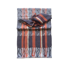 Load image into Gallery viewer, Silk & Merino Scarf - Rust, Plum & Sky blue