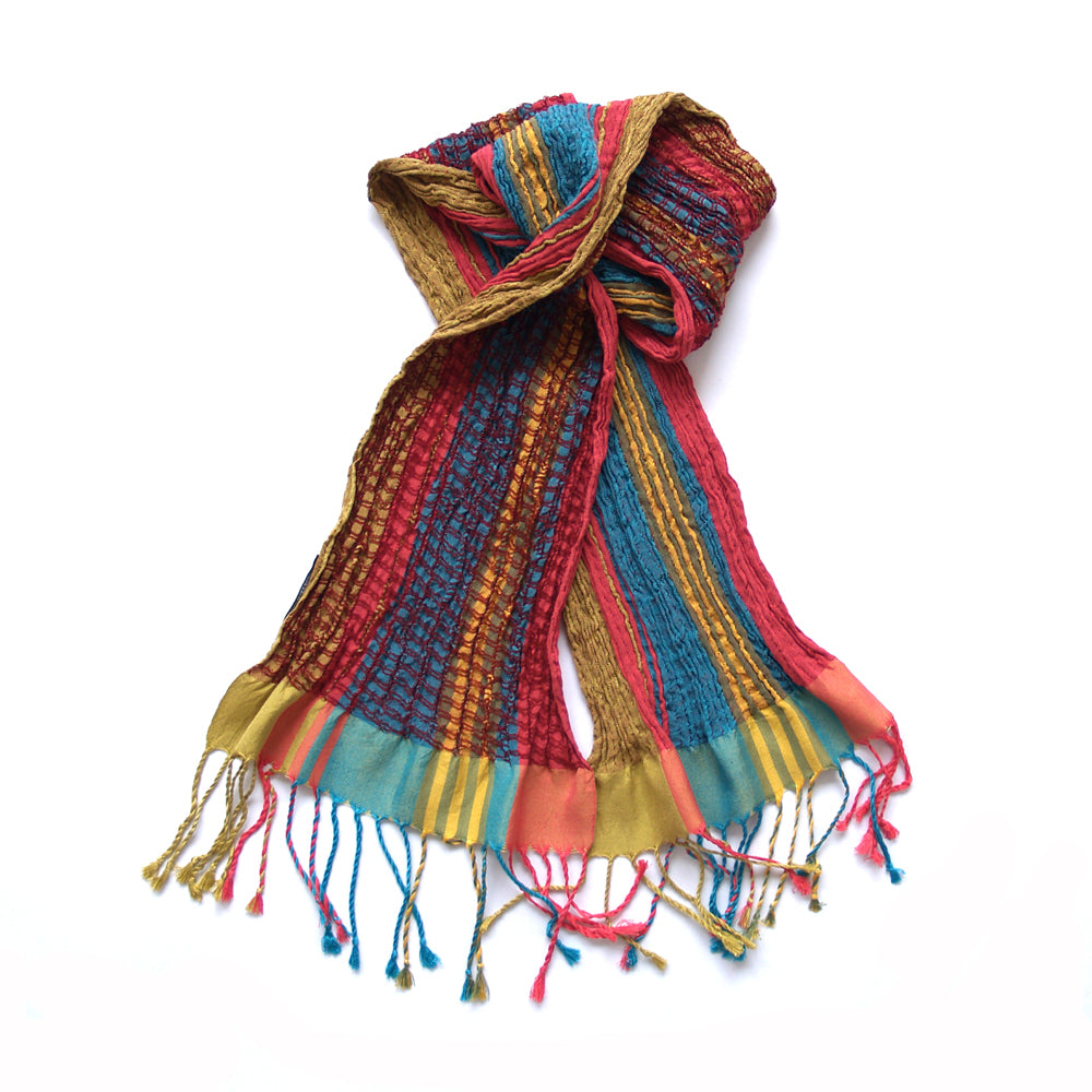 Handwoven skinny collapse scarf - Summer Brights