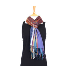 Load image into Gallery viewer, Silk Shawl - Purple & Petrol - Maroon