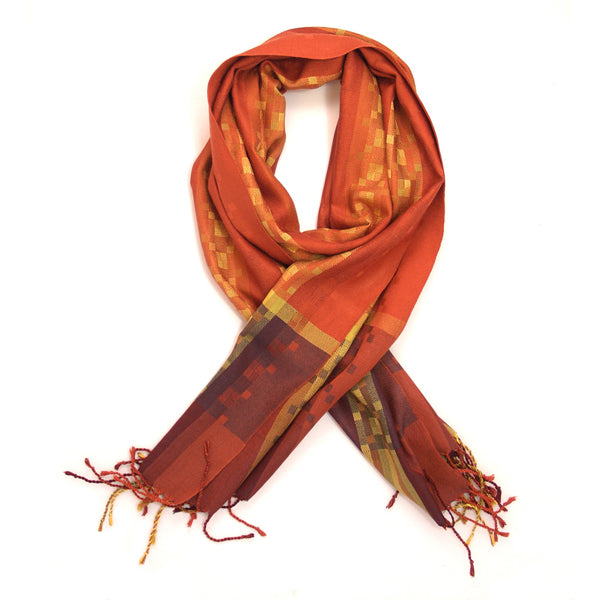 Medium Silk Scarf - Desert Sands - Rust